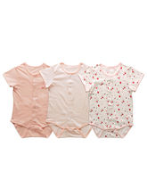 Baby Bodysuit Set Of 3 Short Sleeve - Peachy Pink,...