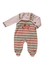 2 Piece 'Cuddly Club' Baby Romper In Baby Pink