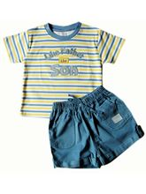 ToffyHouse Baby Boy Light Yellow & Blue Striped Te...