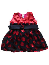 Cute Red & Black Polka Dot Party Frock, 12-18 Mont...