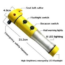 5 in 1 Car Hammer, Seat Belt Cutter, Flash Light, Warning Light, Hammer
