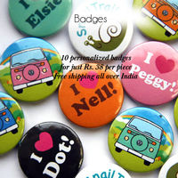 44mm/58mm 10 pcs Personalized Smiley Button Badges