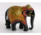Wooden Elephant Emboss Painted 1
