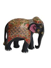Wooden Elephant Gold Painted For Home Decor 2, 8 Inches