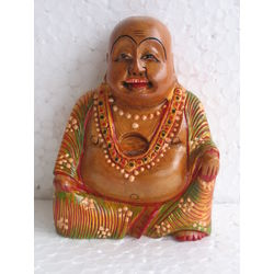 Wooden Laughing Buddha Painted5, 4 inches
