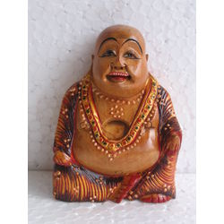 Wooden Laughing Buddha Painted 3, 4 inches