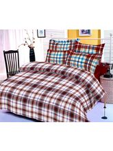 Brown And White Checks Cotton Bedsheet With Two Pi...