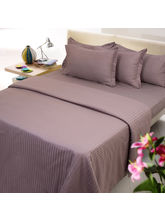 Choco Color Stripe Cotton Double Bed Sheet With Tw...