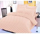 Beige polka dotted bedsheet with two pillow covers