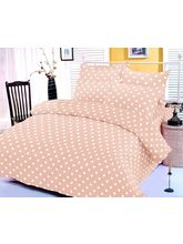 Beige Polka Dotted Bedsheet With Two Pillow Covers...