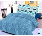 Blue bedsheet with heart prints and two pillow covers