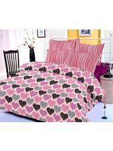 Purple Bedsheet With Heart Prints And Two Pillow C...