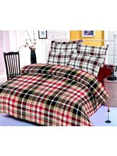 Black, Red And White Checks Cotton Bedsheet With T...