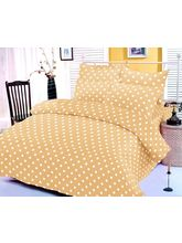 Yellow And White Polka Dotted Bedsheet With Two Pi...