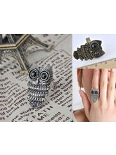 Owl Resizeable Ring In Antique Gold And Antique Si...