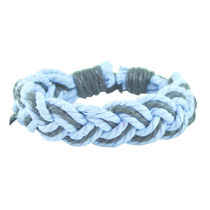 "ALPHA MAN Men's Fashion Accessories"" Cool Blue"" and Black Thread Woven Faux Leather Bracelet from Men's Jewellery Collection"