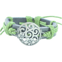 """ALPHA MAN Men's Fashion Accessories"""" Cirle of Life"""" Olive Green Thread Woven Black Strap Faux Leather Bracelet"""
