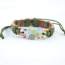 """ANTIFORMAL Unisex Men's and Women's Jewellery"""" Canvas Cool"""" Olive Green Thread Woven Tan Brown Strap Faux Leather Bracelet"""