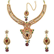 AAKSHIl Ethnic Pearl with Austrian Diamond Jewellery Set