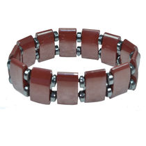 ALPHAMAN Rich Mahogany Bracelet for Men with Twin Silver Tone Stones