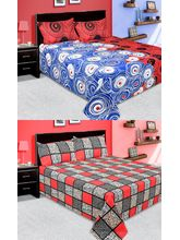 La elite Combo Of 100% Thick Cotton 2 Double Bed Sheet With 4 Pillow Covers (Bjcombo28), multicolor