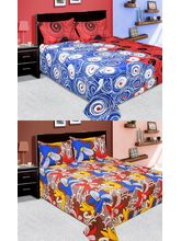 La elite Combo Of 100% Thick Cotton 2 Double Bed Sheet With 4 Pillow Covers (Bjcombo33), multicolor