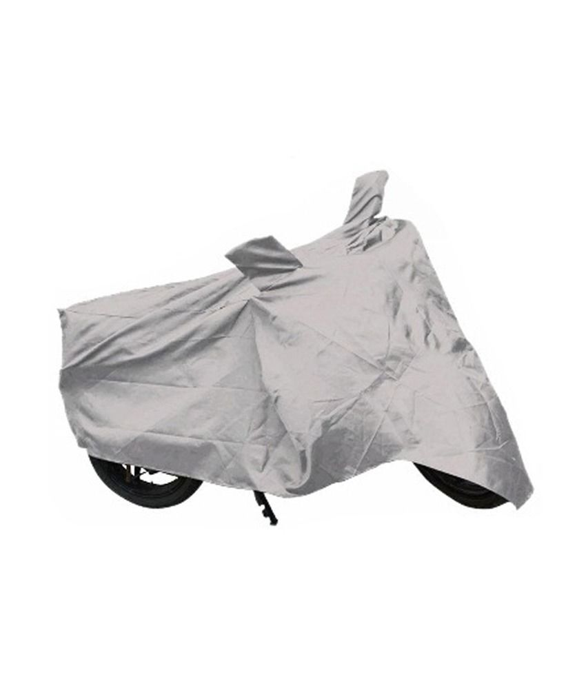 Auto Hub Silver 548 Bike/Motorcycle Body Cover With Mirror Pocket For Hero Super Splendor (AH Silver 548), silver