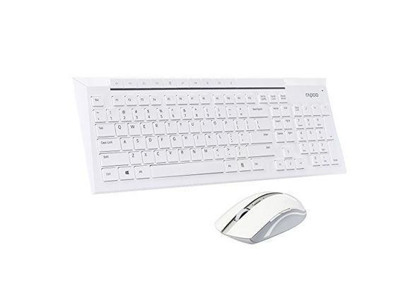 Rapoo 8200p 5.8ghz Wireless Multimedia Keyboard Mouse Combo, White