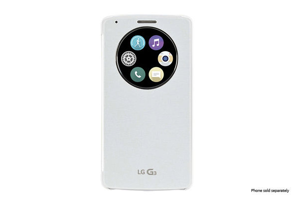 LG Quick Circle Snap-On Folio Case for LG G3, White