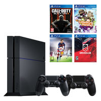 Sony PlayStation 4 1TB Console with 2 Controllers and 4 Games