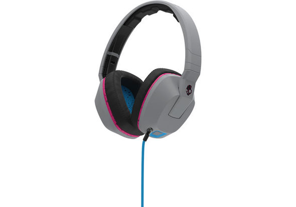 Skullcandy Crusher Over-Ear Headphones, Gray, Cyan, and Black