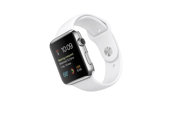 Apple Watch Sport, 42mm Stainless Steel Case with White Sport Band