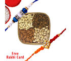 Gifts World 4 in 1 Square Cane Dry Fruits Basket With Rakhi