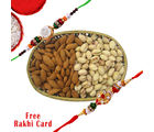 Gifts World Oval Cane Dry Fruits Basket With Rakhi