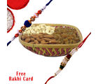 Gifts World Square Cane Dry Fruits Basket With Rakhi
