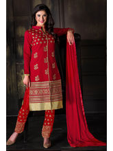 Manmauj Branded Designer Embroidery Chanderi Latest Fashion Unstitched Dress Material (MM10025DRED), red