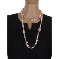 One Stop Fashion Chic and Trendy Pink Clour Glass Beads Long Neck piece for Girls & Women, 92, pink