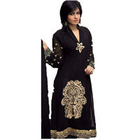 haseena black long strait net Unstich Dress, black, free size