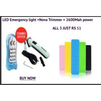 SLT 2 in 1 - 12 LED Rechargeable Emergency Light+ Nova Rechargeable Trimmer with 2600mAh power bank
