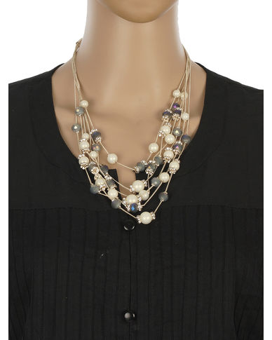 One Stop Fashion Stylish and Elegant Cream Colour Beads with Shining CrystalsNeckpiece for Girls & Women