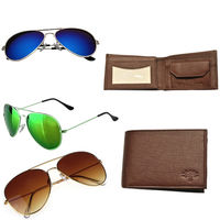 Woodland Brown Leather Formal Wallet with Branded Aviator, green