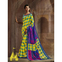 Yellow & Blue Color Printed Saree This Saree Bhagalpuri Silk Fabric Floral Printed Saree, It's An Casual Wear Saree With Blue Color Bhagalpuri Silk Blouse Which Can Be Stitched Up Size 44.
