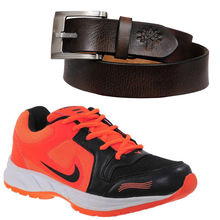 Buy Finley Running Shoes with Woodland Belt in just Rs. 70, orange, 7