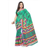 FL-1864 Silkbazar Beautiful Green Faux Georgette Printed Saree, green