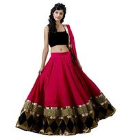 Pink Embroidered Faux Georgette Lehenga Choli