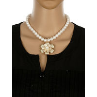 One Stop Fashion Traditional and Smart Pearl Necklace with a Pendant for Girls & Women, 48, white