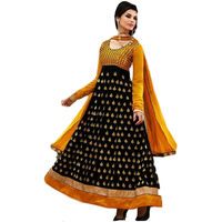 black anarkali orange bhaglpuri long Unstich Dress, black, free size