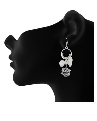 One Stop Fashion Trendy and Stylish Silver Ring and Grey Crystal Ball Ear Hanging for Girls & Women