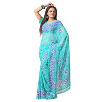 FL-2114 Silkbazar Trendy Green Faux Georgette Printed Saree, green