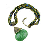 One Stop Fashion Smart and Stunning Necklace with Green colour Pendant and Beaded Chain for Girls & Women, 45, green